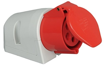 CEE 32A Kopp Wandsteckdose, 5-polig, 400 V, rot -